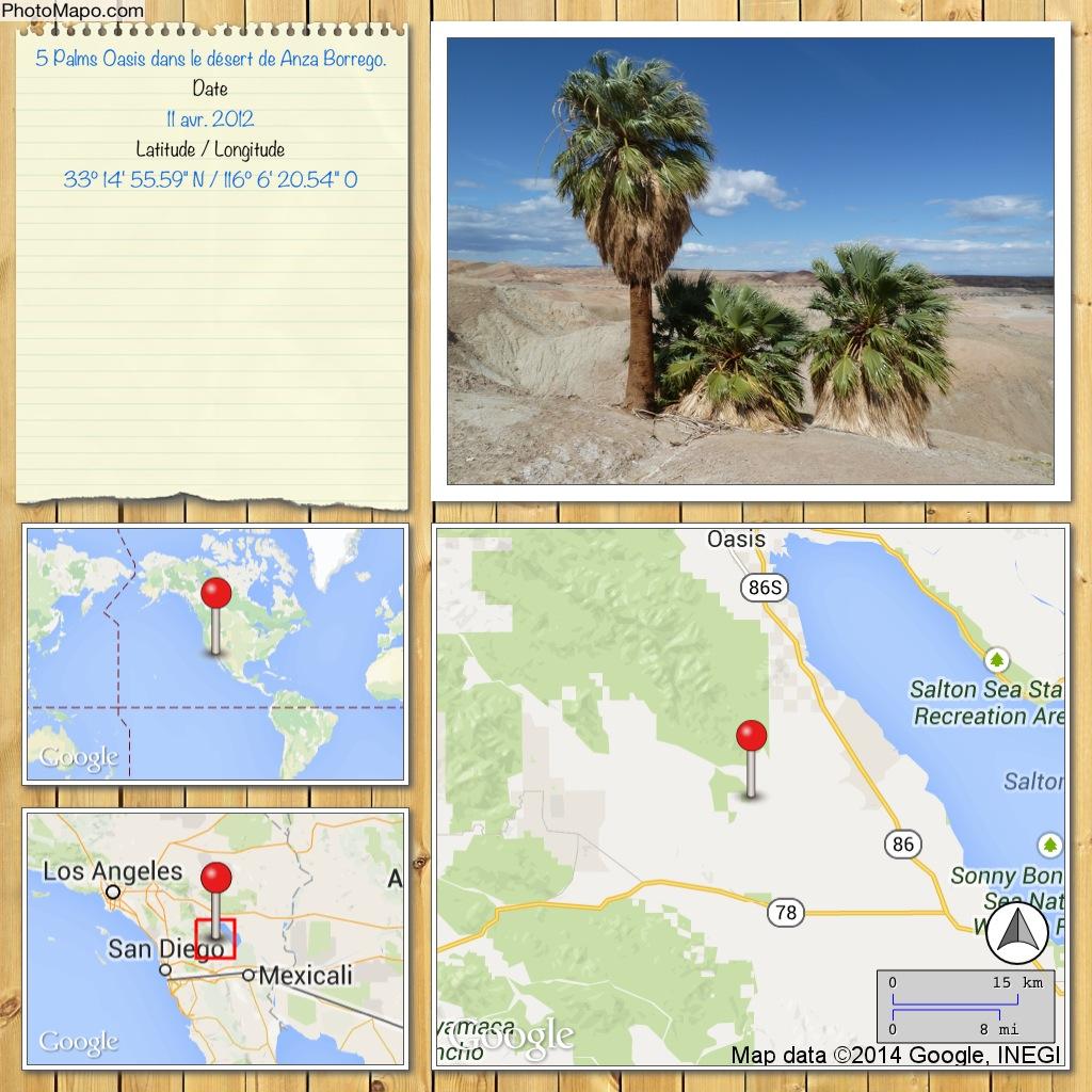 5 Palms Oasis dans le désert de Anza Borrego.